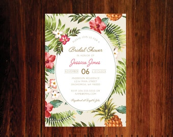 Pineapple Bridal Shower invitations, Tropical Bridal shower, Hawaiian Bridal shower - set of 15