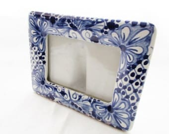Signed Talavera Mexican Pottery Picture Frame, Blue and White, Lead Free, Pottery Frame, Hand Painted