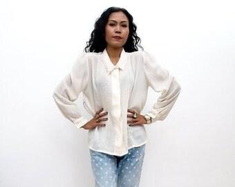 ON SALE Vintage 70s Shirt/70s White Shirt/Off White/Ivory Pin Tucked Long Sleeve Shirt, Large / Extra Large