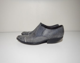 90s guess cowboy western blue leather slip on shoes size 8