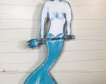 Merman Sign Wall Art Weathered Wood Beach House Decor by CastawaysHall