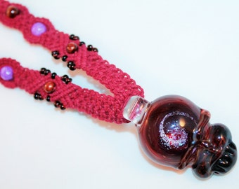 Grateful Dead inspired hemp necklace with lucky stealie pendant, macrame, hippie, deadhead, music festivals, handblown glass