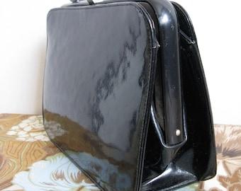 Vintage 1950s Kelly Style Handbag Black Patent Leather Bernard Original Purse