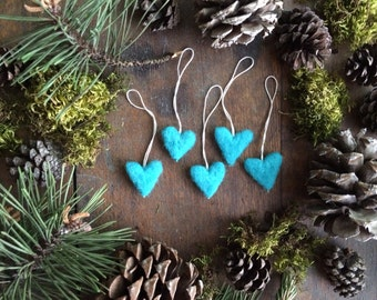 Wool heart ornaments, set of 5, Bright Turquoise, miniature christmas ornament, turquoise christmas decor, teacher gift, turquoise hearts