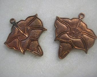 Vintage Art Nouveau Morning Glory Drops;  Detailed Patina Raw Die Struck Brass, Jewelry Finding, Earring Drops, Charms, 40mm x 25mm, 1 Pair