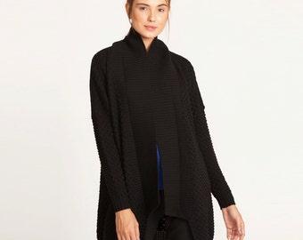 Womens black cardigan, cardigan open sweater, long sweater, Oversized cardigan Sweater, long sleeve cardigan, knitted top, winter coat