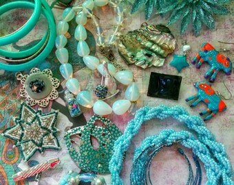 Big Sale, Blue Themed Vintage Jewelry