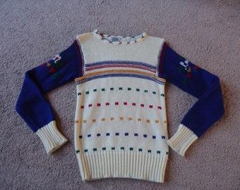 Rainbow Striped Vintage 1980's  Womens Knit Sweater M L