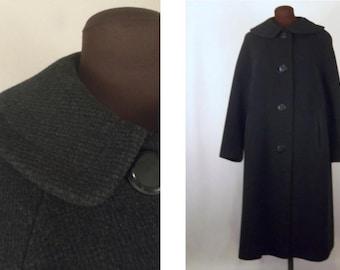 Vintage 50's Women's Coat Gray Grey Wool Size M / L