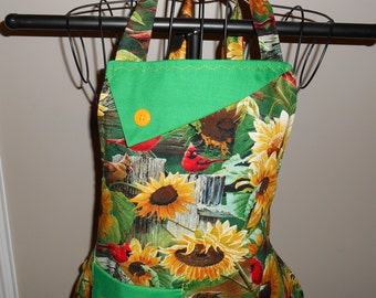 Cardinals and Sunflowers Women's Apron