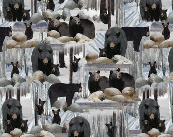 Ice Blue Black Bear # 8492B-12 Into The Woods Kanavs Benartex 1/2 Yard Cotton Fabric for Quilting Free Shipping