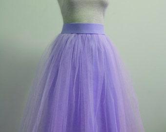 Lavender tulle skirt. Tea length tulle skirt. Tulle skirt.