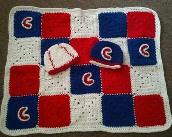 Crochet Cubs Blanket and 2 Newborn hats