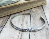 Narrow Sterling Silver Cuff Bracelet - Minimalist Jewelry - Floral Swirl Pattern Bracelet - Bridesmaid Gift - Dainty Bracelet