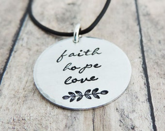 Faith Hope Love Necklace - Silver Christian Jewelry - Scripture Jewelry - 1 Corinthians 13 - Inspirational Bible Verse Necklace