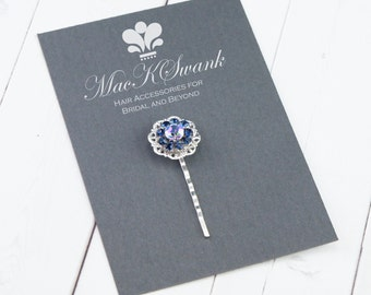 Vintage Rhinestone  Bobby Pin - Blue Crystal Bobby Pin - Gift for Her - Christmas Gift - Bridal Bobby Pin - Something Blue Hair Pin