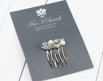 AB Rhinestone Hair Comb - Christmas Present for Her - Ivory Pearl Mini Hair Comb - Gift Under 15 - Unique Gift for Her - Bridal Hair Comb