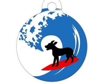 Pet ID Tag - Surfing Dog Pet Tag, Dog Tag, Cat Tag