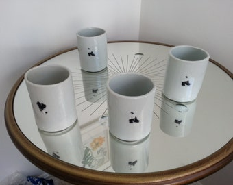 Aikido tumblers with Uke and Nage figures (set of four)