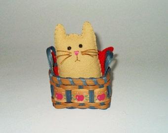 Stuffed Cat Doll - Little Cat in a Basket - Funny Cat Ornament - Pocket Pet -Crazy Cat Lady Gift