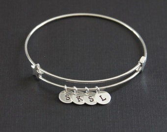 Sterling silver expandable bangle, Personalized Star Bangle, Custom braclet, Initial Bracelet, Hand Stamped, Birthday Gift, Girls Jewelry