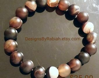 12mm Striped agate bracelet