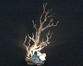 Wire Tree Of Life sculpture, nature inspire Bristlecone pine Tree, table lamp night light, Turquoise, unique handmade original art gift idea