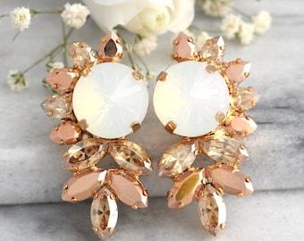 Bridal Earrings, Bridal Rose Gold Earrings,White Opal Earrings, Swarovski Bridal Earrings,Bridesmaids Earrings, Bridal Gold Crystal Earrings