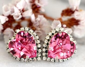 Pink Earrings,Pink Swarovski Earrings,Pink Crystal Heart Earrings,Valentines Gift For Her,Pink Statement Earrings,Heart Earrings,Pink Studs