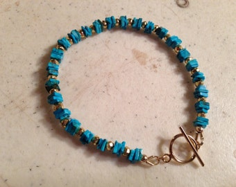 Turquoise Bracelet - Blue Gemstone Jewelry - Gold Jewellery - Fashion - Trendy - Pyrite