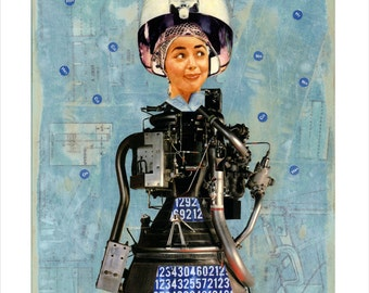 "Large Giclee Print from my Original Collage ""Robo Girl"" - iwearpartyhats, retro, sci fi, surreal, robot, blue, salon, hair"