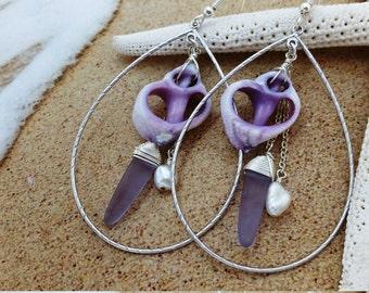 Shell Earrings, Purple Sea Glass Earrings Beach Jewelry Shell Jewelry Seashell Jewelry Seashell Earrings Hawaiian Jewelry Hawaii Jewelry 032