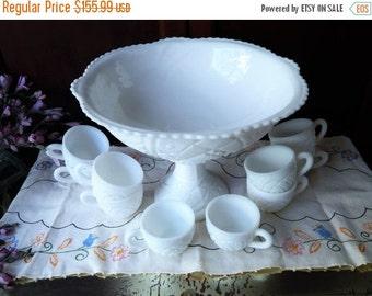 fall sale 2016 White Wedding~Vintage Cut Milk Glass Punch Bowl Set McKee Glass Piece Set Milk Glass Concord Pattern White Milk Glass Set