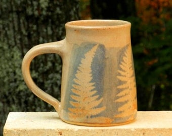 Blue Fern Mug, 21oz. Collectable Handmade stoneware, Microwave friendly