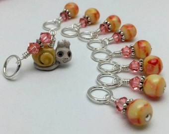 Snail Stitch Marker Set - Gifts for Knitters- Snag Free Beaded Knitting Markers- Pattern Markers