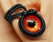 Eye Ear Cuff Black with Red Glass Eye Human Eye Zombie Eye Vampire Eye Ear Cuff Goth Ear Cuff Steampunk Ear Cuff Red and Gold Glass Eye