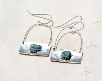 Hammered Silver Earrings. Long Silver Roman Glass Earrings Jewelry Made in Israel Silver Sheet Rectangle Earrings Handmade. Free Shipping