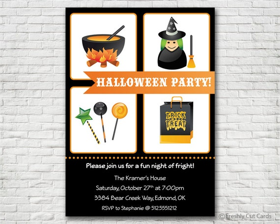 Fright Night of Fun Halloween Invitation - Printable or Printed (w/ FREE Envelopes)