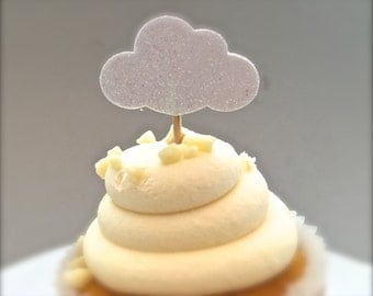 Set Of Twenty Four Shimmery White Glitter Clouds Cupcake Toppers - Baby Shower - Bridal Shower