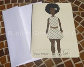 African American Birthday Card - Women Afro Style