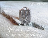 PHOENIX RISING Symbolic Silver Wax Seal Pendant, Mens Necklace Inspirational MENS Jewelry . Handmade . Talisman . Amulet
