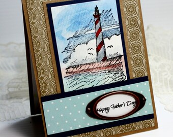 "Father's Day Card - Handmade Greeting Card - 3D Card - 4.25 x 5.5"" Happy Father's Day Stampin Up Lighthouse Masculine Watercolor Ocean OOAK"