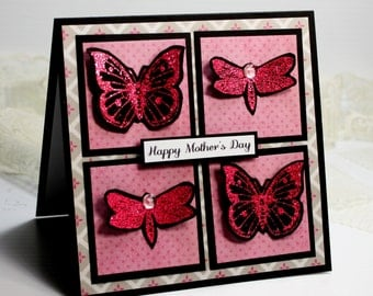 """Mother's Day Card- Handmade Card Greeting Card 5.25 x 5.25"""" Happy Mother's Day Pink Butterflies Stationery 3D Card - OOAK"""