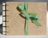 Plant Paper Journal (Hay) with Green Coptic Stitch Binding, Letterpress Endsheets, Recycled Pages-Blank Hand-Sewn Notebook, item 106.02