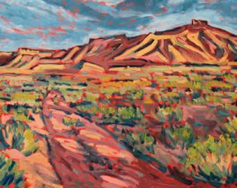 Sunset Mesa - Painting, Original Oil, Desert, Landscape, Utah, Sage Brush, Dirt Road, Southwestern, Red Cliffs