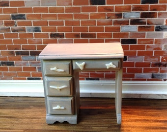 Light grey/ stained desk with white faux coral handles Dollhouse Size