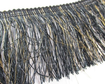 Black and Gold 4 Inch Fringed Chainette Metallic Trim