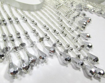 Metallic Silver 4 inch long Beaded Fringe Trim, Burlesque, Costume or Decorator Trim with glass seed beads - Choose your length