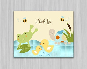 Frog in the Pond Friends/Turtle/Ducks Printable Baby Shower Thank You Card  U Print yourself