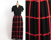 Vintage 40s Evening GOWN / 1940s Black & Red Crepe Cage Grid Brass Studded Party Dress S - M